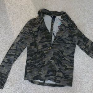 camouflage jean jacket with embroidery